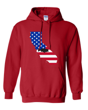 Load image into Gallery viewer, Pullover Hooded Sweatshirt California Red Large Mouth Bass Vibrant Design High Quality Tight Knit Ring Spun Low Maintenance Cotton Printed With The Newest Available Color Transfer Technology