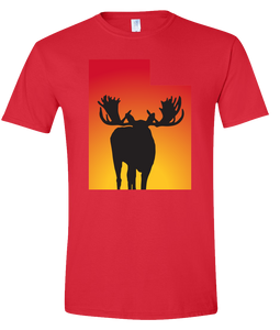 Short Sleeve T-Shirt Utah Red Moose Vibrant Design High Quality Tight Knit Ring Spun Low Maintenance Cotton Printed With The Newest Available Color Transfer Technology