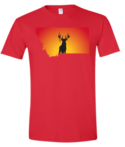 Short Sleeve T-Shirt Montana Red Whitetail Deer Vibrant Design High Quality Tight Knit Ring Spun Low Maintenance Cotton Printed With The Newest Available Color Transfer Technology