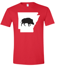 Load image into Gallery viewer, Short Sleeve T-Shirt Arkansas Red Wild Hog Vibrant Design High Quality Tight Knit Ring Spun Low Maintenance Cotton Printed With The Newest Available Color Transfer Technology