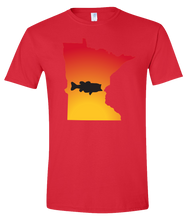 Load image into Gallery viewer, Short Sleeve T-Shirt Minnesota Red Large Mouth Bass Vibrant Design High Quality Tight Knit Ring Spun Low Maintenance Cotton Printed With The Newest Available Color Transfer Technology