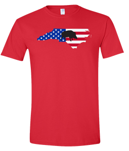 Short Sleeve T-Shirt North Carolina Red Wild Hog Vibrant Design High Quality Tight Knit Ring Spun Low Maintenance Cotton Printed With The Newest Available Color Transfer Technology