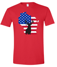 Load image into Gallery viewer, Short Sleeve T-Shirt Wisconsin Red Whitetail Deer Vibrant Design High Quality Tight Knit Ring Spun Low Maintenance Cotton Printed With The Newest Available Color Transfer Technology