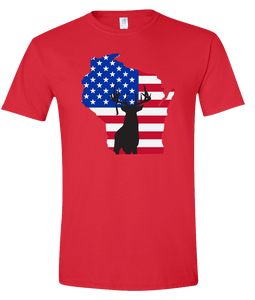 Short Sleeve T-Shirt Wisconsin Red Whitetail Deer Vibrant Design High Quality Tight Knit Ring Spun Low Maintenance Cotton Printed With The Newest Available Color Transfer Technology