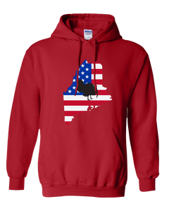 Pullover Hooded Sweatshirt Maine Red Turkey Vibrant Design High Quality Tight Knit Ring Spun Low Maintenance Cotton Printed With The Newest Available Color Transfer Technology