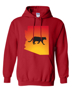 Pullover Hooded Sweatshirt Arizona Red Mountain Lion Vibrant Design High Quality Tight Knit Ring Spun Low Maintenance Cotton Printed With The Newest Available Color Transfer Technology