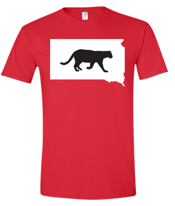 Short Sleeve T-Shirt South Dakota Red Mountain Lion Vibrant Design High Quality Tight Knit Ring Spun Low Maintenance Cotton Printed With The Newest Available Color Transfer Technology