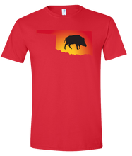 Load image into Gallery viewer, Short Sleeve T-Shirt Oklahoma Red Wild Hog Vibrant Design High Quality Tight Knit Ring Spun Low Maintenance Cotton Printed With The Newest Available Color Transfer Technology