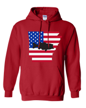 Load image into Gallery viewer, Pullover Hooded Sweatshirt Arkansas Red Large Mouth Bass Vibrant Design High Quality Tight Knit Ring Spun Low Maintenance Cotton Printed With The Newest Available Color Transfer Technology