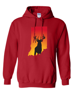 Pullover Hooded Sweatshirt Indiana Red Whitetail Deer Vibrant Design High Quality Tight Knit Ring Spun Low Maintenance Cotton Printed With The Newest Available Color Transfer Technology