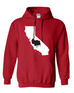 Pullover Hooded Sweatshirt California Red Turkey Vibrant Design High Quality Tight Knit Ring Spun Low Maintenance Cotton Printed With The Newest Available Color Transfer Technology