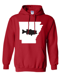 Pullover Hooded Sweatshirt Arkansas Red Large Mouth Bass Vibrant Design High Quality Tight Knit Ring Spun Low Maintenance Cotton Printed With The Newest Available Color Transfer Technology