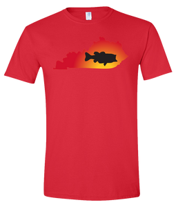 Short Sleeve T-Shirt Kentucky Red Large Mouth Bass Vibrant Design High Quality Tight Knit Ring Spun Low Maintenance Cotton Printed With The Newest Available Color Transfer Technology