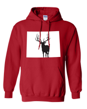 Load image into Gallery viewer, Pullover Hooded Sweatshirt Wyoming Red Elk Vibrant Design High Quality Tight Knit Ring Spun Low Maintenance Cotton Printed With The Newest Available Color Transfer Technology