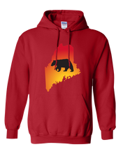 Load image into Gallery viewer, Pullover Hooded Sweatshirt Maine Red Black Bear Vibrant Design High Quality Tight Knit Ring Spun Low Maintenance Cotton Printed With The Newest Available Color Transfer Technology
