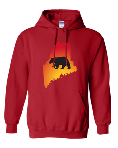 Pullover Hooded Sweatshirt Maine Red Black Bear Vibrant Design High Quality Tight Knit Ring Spun Low Maintenance Cotton Printed With The Newest Available Color Transfer Technology