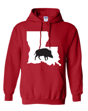 Load image into Gallery viewer, Pullover Hooded Sweatshirt Louisiana Red Wild Hog Vibrant Design High Quality Tight Knit Ring Spun Low Maintenance Cotton Printed With The Newest Available Color Transfer Technology