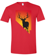 Load image into Gallery viewer, Short Sleeve T-Shirt Nevada Red Elk Vibrant Design High Quality Tight Knit Ring Spun Low Maintenance Cotton Printed With The Newest Available Color Transfer Technology