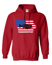 Load image into Gallery viewer, Pullover Hooded Sweatshirt Iowa Red Large Mouth Bass Vibrant Design High Quality Tight Knit Ring Spun Low Maintenance Cotton Printed With The Newest Available Color Transfer Technology