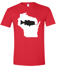 Load image into Gallery viewer, Short Sleeve T-Shirt Wisconsin Red Large Mouth Bass Vibrant Design High Quality Tight Knit Ring Spun Low Maintenance Cotton Printed With The Newest Available Color Transfer Technology