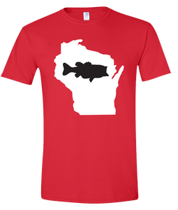 Short Sleeve T-Shirt Wisconsin Red Large Mouth Bass Vibrant Design High Quality Tight Knit Ring Spun Low Maintenance Cotton Printed With The Newest Available Color Transfer Technology