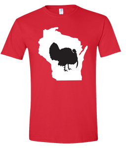 Short Sleeve T-Shirt Wisconsin Red Turkey Vibrant Design High Quality Tight Knit Ring Spun Low Maintenance Cotton Printed With The Newest Available Color Transfer Technology
