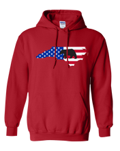 Load image into Gallery viewer, Pullover Hooded Sweatshirt North Carolina Red Black Bear Vibrant Design High Quality Tight Knit Ring Spun Low Maintenance Cotton Printed With The Newest Available Color Transfer Technology