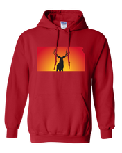 Load image into Gallery viewer, Pullover Hooded Sweatshirt Kansas Red Mule Deer Vibrant Design High Quality Tight Knit Ring Spun Low Maintenance Cotton Printed With The Newest Available Color Transfer Technology
