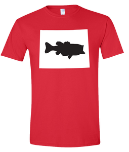 Short Sleeve T-Shirt Wyoming Red Large Mouth Bass Vibrant Design High Quality Tight Knit Ring Spun Low Maintenance Cotton Printed With The Newest Available Color Transfer Technology