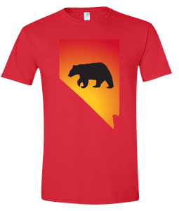 Short Sleeve T-Shirt Nevada Red Black Bear Vibrant Design High Quality Tight Knit Ring Spun Low Maintenance Cotton Printed With The Newest Available Color Transfer Technology