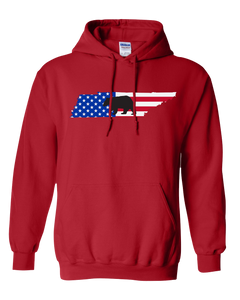 Pullover Hooded Sweatshirt Tennessee Red Black Bear Vibrant Design High Quality Tight Knit Ring Spun Low Maintenance Cotton Printed With The Newest Available Color Transfer Technology