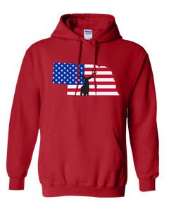 Pullover Hooded Sweatshirt Nebraska Red Mule Deer Vibrant Design High Quality Tight Knit Ring Spun Low Maintenance Cotton Printed With The Newest Available Color Transfer Technology