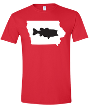 Load image into Gallery viewer, Short Sleeve T-Shirt Iowa Red Large Mouth Bass Vibrant Design High Quality Tight Knit Ring Spun Low Maintenance Cotton Printed With The Newest Available Color Transfer Technology