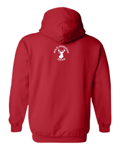 Pullover Hooded Sweatshirt Wyoming Red Black Bear Vibrant Design High Quality Tight Knit Ring Spun Low Maintenance Cotton Printed With The Newest Available Color Transfer Technology