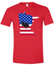 Load image into Gallery viewer, Short Sleeve T-Shirt Minnesota Red Turkey Vibrant Design High Quality Tight Knit Ring Spun Low Maintenance Cotton Printed With The Newest Available Color Transfer Technology