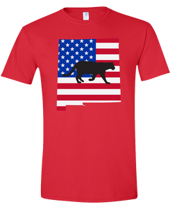 Short Sleeve T-Shirt New Mexico Red Mountain Lion Vibrant Design High Quality Tight Knit Ring Spun Low Maintenance Cotton Printed With The Newest Available Color Transfer Technology