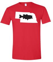 Load image into Gallery viewer, Short Sleeve T-Shirt Nebraska Red Large Mouth Bass Vibrant Design High Quality Tight Knit Ring Spun Low Maintenance Cotton Printed With The Newest Available Color Transfer Technology