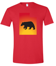Load image into Gallery viewer, Short Sleeve T-Shirt Utah Red Black Bear Vibrant Design High Quality Tight Knit Ring Spun Low Maintenance Cotton Printed With The Newest Available Color Transfer Technology