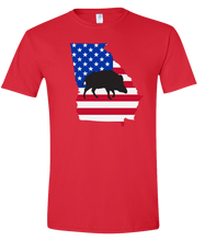 Load image into Gallery viewer, Short Sleeve T-Shirt Georgia Red Wild Hog Vibrant Design High Quality Tight Knit Ring Spun Low Maintenance Cotton Printed With The Newest Available Color Transfer Technology