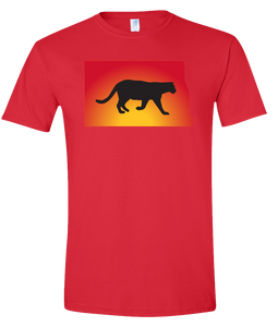 Short Sleeve T-Shirt North Dakota Red Mountain Lion Vibrant Design High Quality Tight Knit Ring Spun Low Maintenance Cotton Printed With The Newest Available Color Transfer Technology