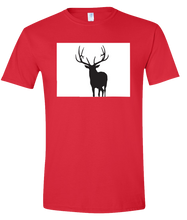 Load image into Gallery viewer, Short Sleeve T-Shirt Colorado Red Elk Vibrant Design High Quality Tight Knit Ring Spun Low Maintenance Cotton Printed With The Newest Available Color Transfer Technology