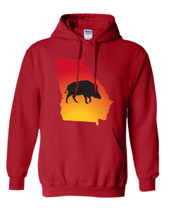 Pullover Hooded Sweatshirt Georgia Red Wild Hog Vibrant Design High Quality Tight Knit Ring Spun Low Maintenance Cotton Printed With The Newest Available Color Transfer Technology
