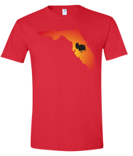 Load image into Gallery viewer, Short Sleeve T-Shirt Florida Red Turkey Vibrant Design High Quality Tight Knit Ring Spun Low Maintenance Cotton Printed With The Newest Available Color Transfer Technology