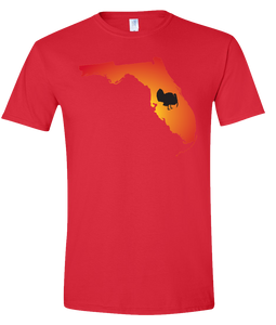 Short Sleeve T-Shirt Florida Red Turkey Vibrant Design High Quality Tight Knit Ring Spun Low Maintenance Cotton Printed With The Newest Available Color Transfer Technology