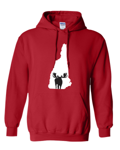 Pullover Hooded Sweatshirt New Hampshire Red Moose Vibrant Design High Quality Tight Knit Ring Spun Low Maintenance Cotton Printed With The Newest Available Color Transfer Technology