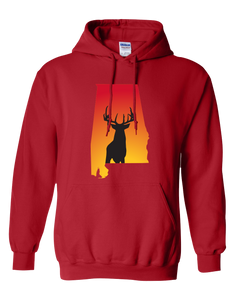 Pullover Hooded Sweatshirt Alabama Red Whitetail Deer Vibrant Design High Quality Tight Knit Ring Spun Low Maintenance Cotton Printed With The Newest Available Color Transfer Technology
