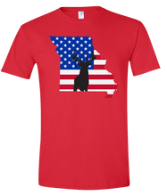 Load image into Gallery viewer, Short Sleeve T-Shirt Missouri Red Whitetail Deer Vibrant Design High Quality Tight Knit Ring Spun Low Maintenance Cotton Printed With The Newest Available Color Transfer Technology