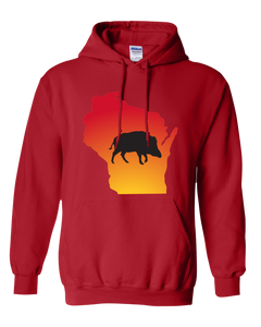 Pullover Hooded Sweatshirt Wisconsin Red Wild Hog Vibrant Design High Quality Tight Knit Ring Spun Low Maintenance Cotton Printed With The Newest Available Color Transfer Technology