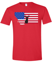 Load image into Gallery viewer, Short Sleeve T-Shirt Montana Red Whitetail Deer Vibrant Design High Quality Tight Knit Ring Spun Low Maintenance Cotton Printed With The Newest Available Color Transfer Technology