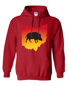 Pullover Hooded Sweatshirt Ohio Red Wild Hog Vibrant Design High Quality Tight Knit Ring Spun Low Maintenance Cotton Printed With The Newest Available Color Transfer Technology